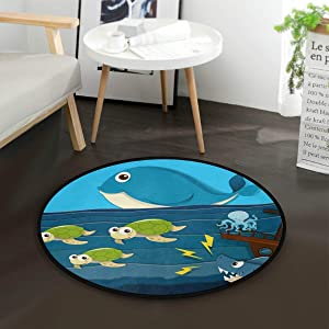"Shark Attack Ship Sea Turtle Whale Octopus Kids Round Rug Baby Crawling Non-Slip Mats Child Activity Play Pad for Bedroom Playroom Home Decor (Diameter 36.2"")"