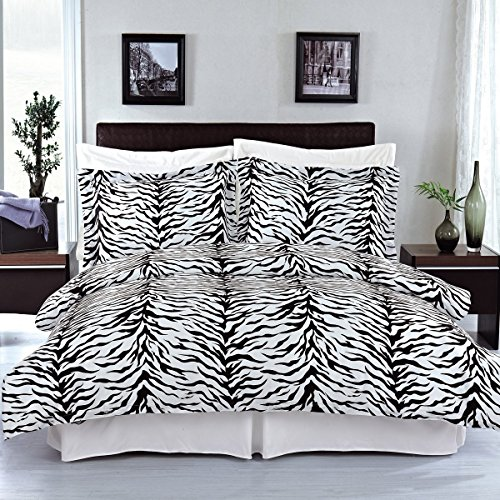 (Zebra 3-Piece Full/Queen Duvet Cover Set 100% Cotton 300 Thread Count by Royal Hotel)