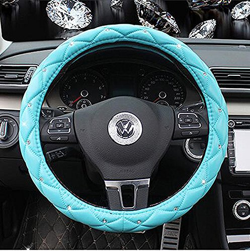 Follicomfy Comfort Leather Auto Car Steering Wheel Wrap Cover,Anti Slip Universal 15 Inch,Blue