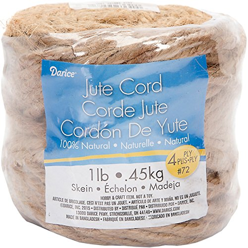 Darice 100% Natural Jute (1 Skein) - 4-Ply, 72 Pound Thickness - Durable Jute Perfect for Hanging and Craft Projects - Wrap Jars, Create Hanging Pots and Baskets, Cat Trees -