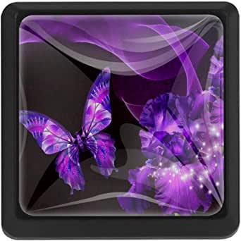 Amazon.com: TIKISMILE Purple Butterfly Crystal Glass ...