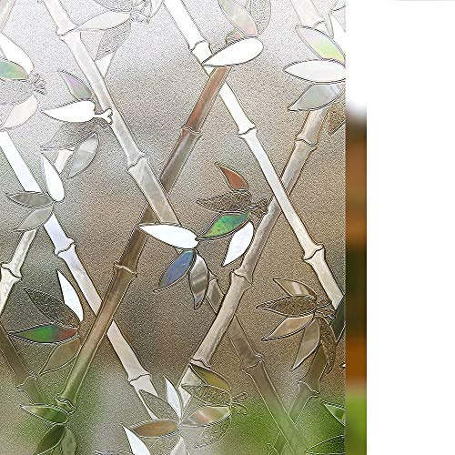 """Rabbitgoo Privacy Window Film Frosted Film Decorative Window Cling Anti-UV Glass Films Non-Adhesive Bamboo Films for Living Room Bedroom Kitchen Lobby Porch Office 35.4"""" x 78.7"""""""