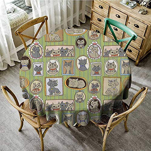 Round Table Cover Cat Lover Decor Collection,Framed Pictures of Cute Cats on The Wall Decorating Lovely Memories Moments,Green Mustard Gray D 36