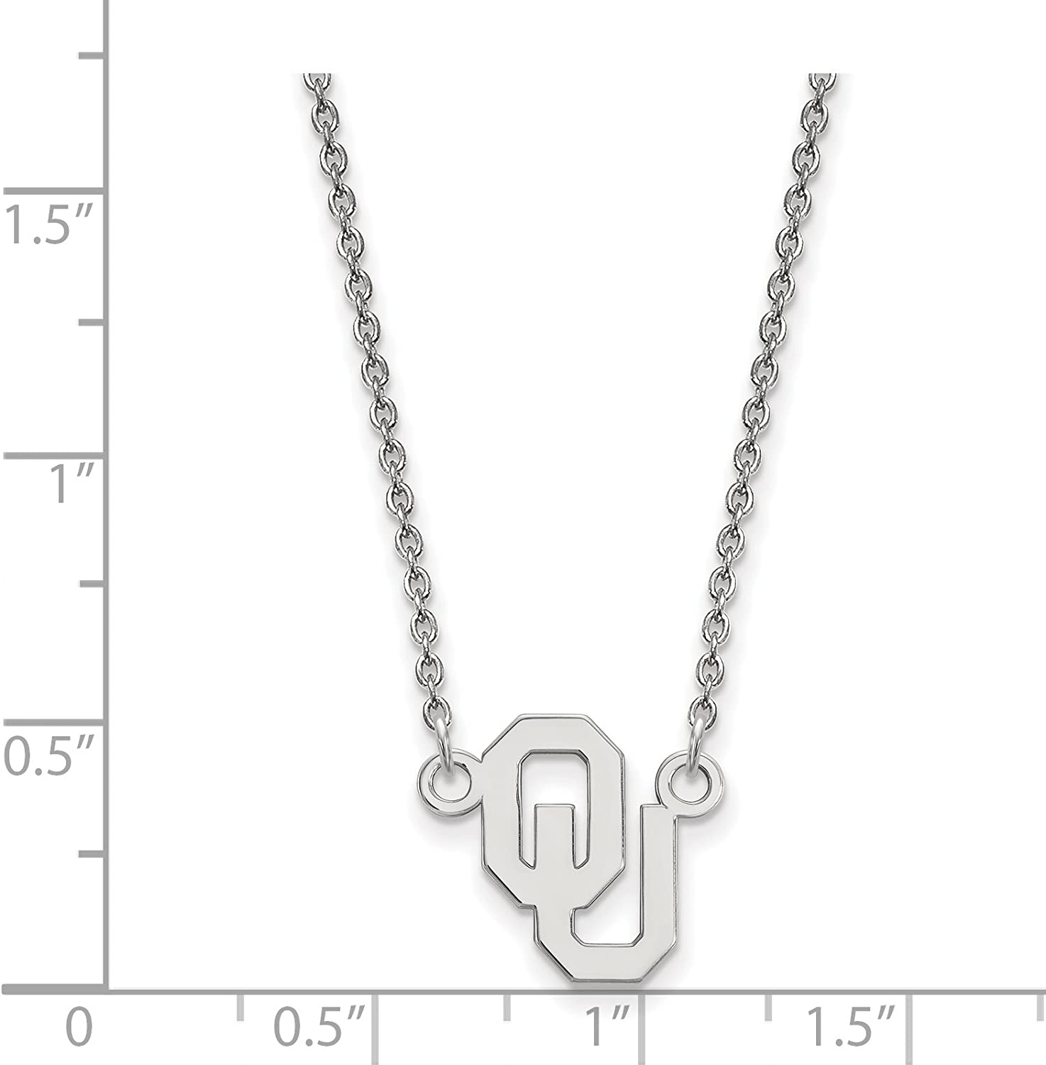 925 Sterling Silver Rhodium-plated Laser-cut Oklahoma State University Large Pendant w//Necklace 18