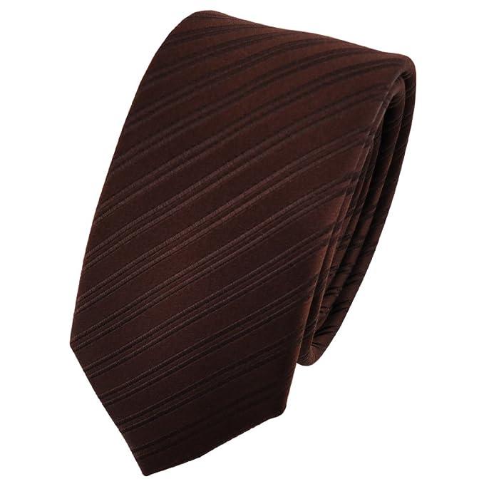 ohne Markenname corbata de seda de diseño estrecho - marrón oscuro ...