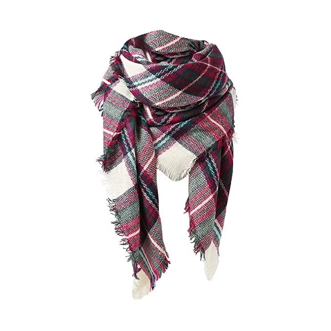 04f5d07d8 Spring Fever Large Tartan Fashion Women Scarf Lovely Best Gift Scarf Wrap  Shawl D Green