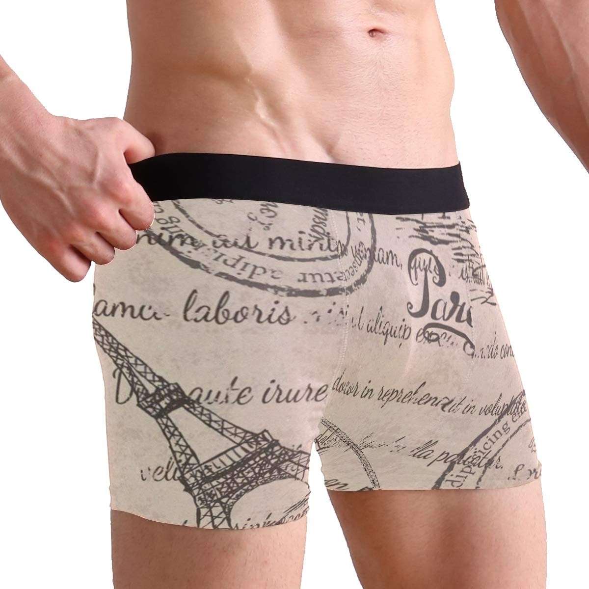 Vintage Paris Eiffel Tower Word Boxer Briefs Mens Underpants Underwear Boxer Shorts for Mens and Boys