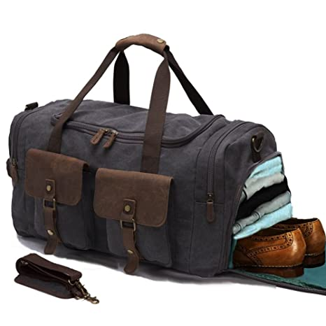 Mens weekend travel duffle bag durable canvas carry on luggage mens weekend travel duffle bag durable canvas carry on luggage bags kemys leather trim negle Images