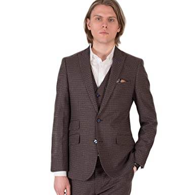 Harry Brown London Collection Brown Check Three Piece Slim Fit ...
