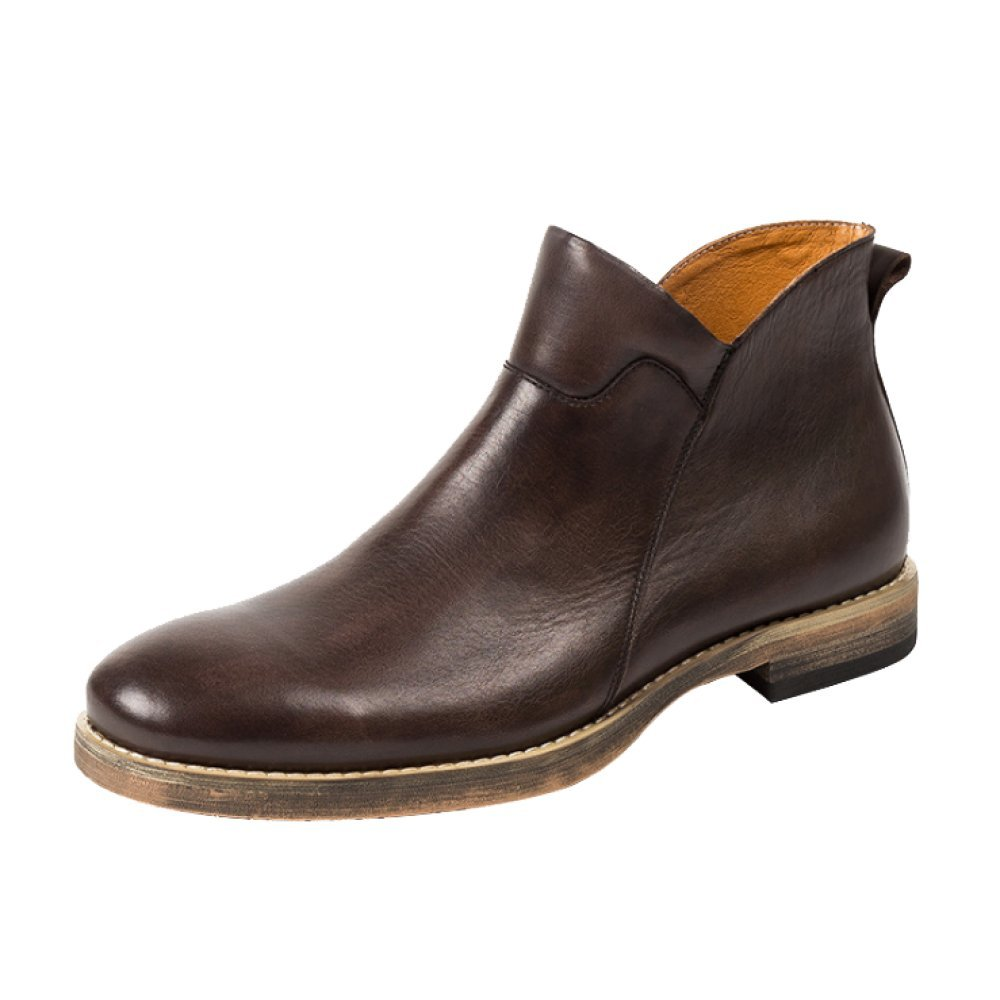 LYZGF Herren Jugend Casual Martin Stiefel Fashion Vintage Lederstiefel Reißverschluss Lederschuhe