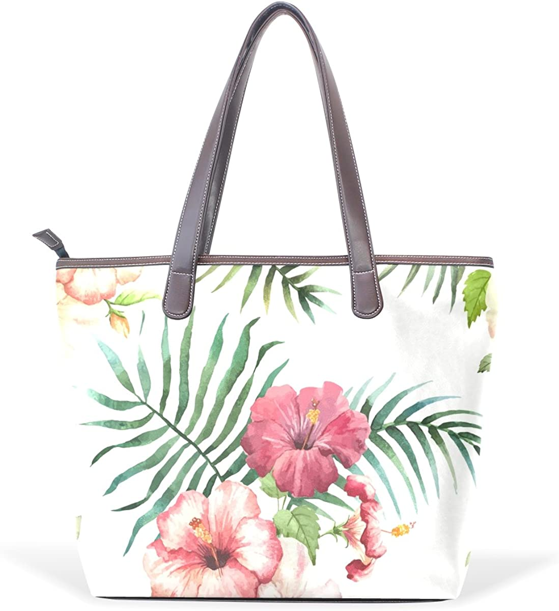 imobaby Womens PU Leather Handbags Lightweight Tropical Hibiscus Flowers Tote Bag
