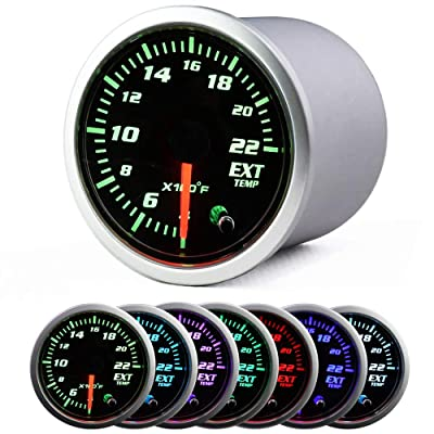 2'' 52mm Exhaust Gas Temp Gauge Universal 7 Color LED Temperature EGT Gauge Meter with Sensor 12V: Automotive