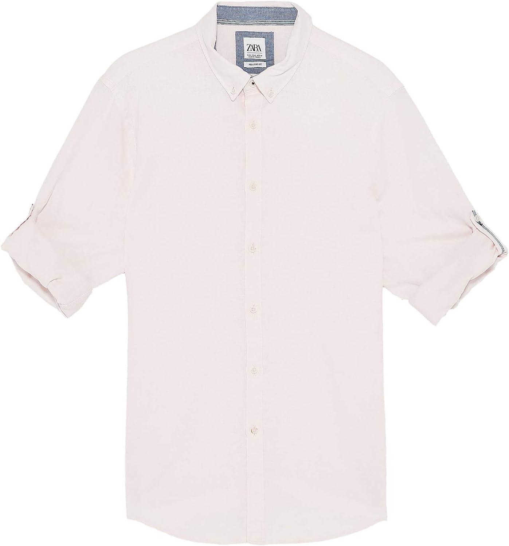 Zara 7545/402/620 - Camisa para Hombre Rosa Rosa XL: Amazon ...