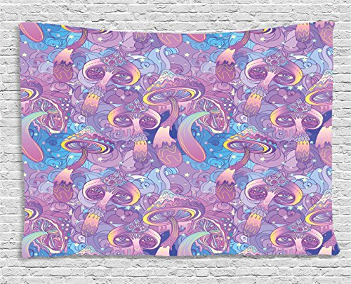 Purple Swirl Tapestry - Ambesonne Mushroom Tapestry by, Magical Fantastic Compositions Trippy Figures Swirls Eyes Dreamlike, Wall Hanging for Bedroom Living Room Dorm, 80 W X 60 L Inches, Purple Light Blue Yellow