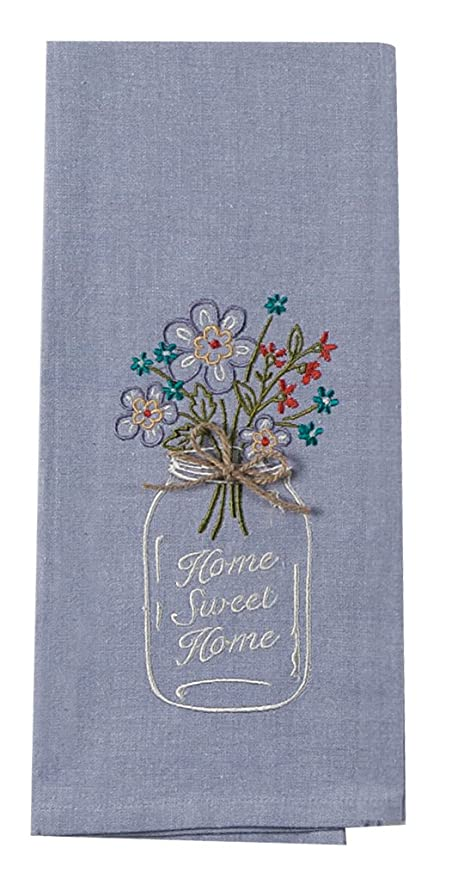 Kay Dee Designs F0747 Home Sweet Home Mason Jar Embroidered Tea Towel
