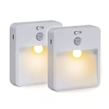 Xcellent Global Juego de 2 Luces Murales LED con Sensor de Movimiento Inalambrico Recargable USB,