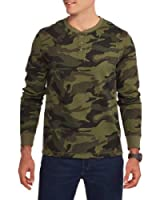 Faded Glory Men's Long Sleeve Waffle Thermal Henley Top / Shirt