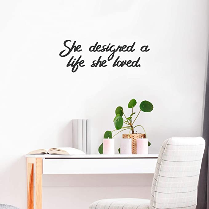 Black Size 8 Inches x 20 Inches Design with Vinyl Moti 2664 1 Decal Just Married Love Life Wedding Quote Color Peel /& Stick Wall Sticker