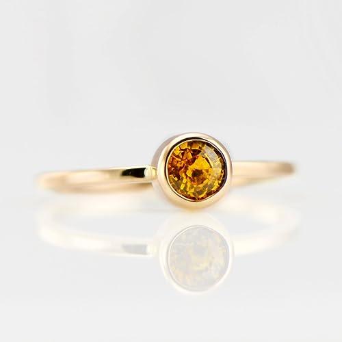 c3382b1643806 Amazon.com: Yellow Sapphire Ring in 14K Gold Yellow Sapphire ...