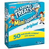 Kellogg's Rice Krispies Treats, Original Mini Squares Snack Bars, 0.39 Ounce Package (Pack of 50)