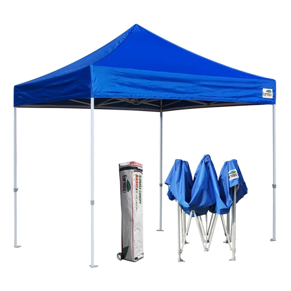Eurmax 10x10 ft Commercial Ez Pop Up Canopy Party Tent Outdoor Instant Shelter Portable Folding Gazebo+Roller bag (Blue)