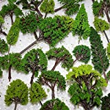NW 32pcs Mixed Model Trees Model Train Scenery Architecture Trees Model Scenery with No Stands(0.79-6.30inch)