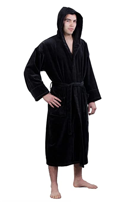 02b894ca21 Chakir Turkish Linens Unisex Hooded 100% Pure Turkish Cotton Terry Velour  Bathrobe (One Size