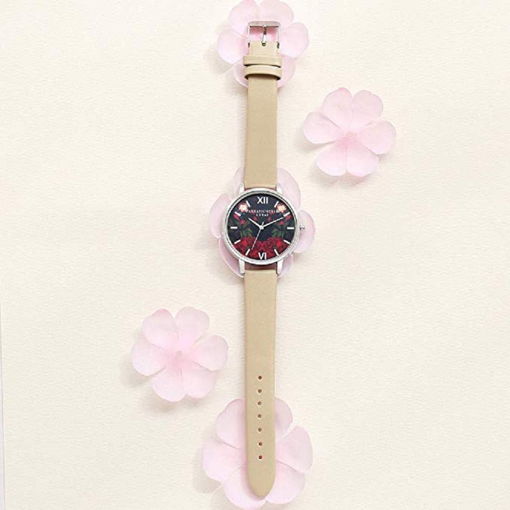 Scpink Mujeres Relojes de Cuarzo, patrón de Flores de liquidación Relojes de señoras analógicas Relojes Femeninos Relojes de Cuero (Caqui): Amazon.es: ...