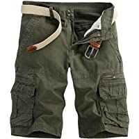 Pinkpum Men's Lightweight Multi Pocket Casual Cargo Shorts with No Belt