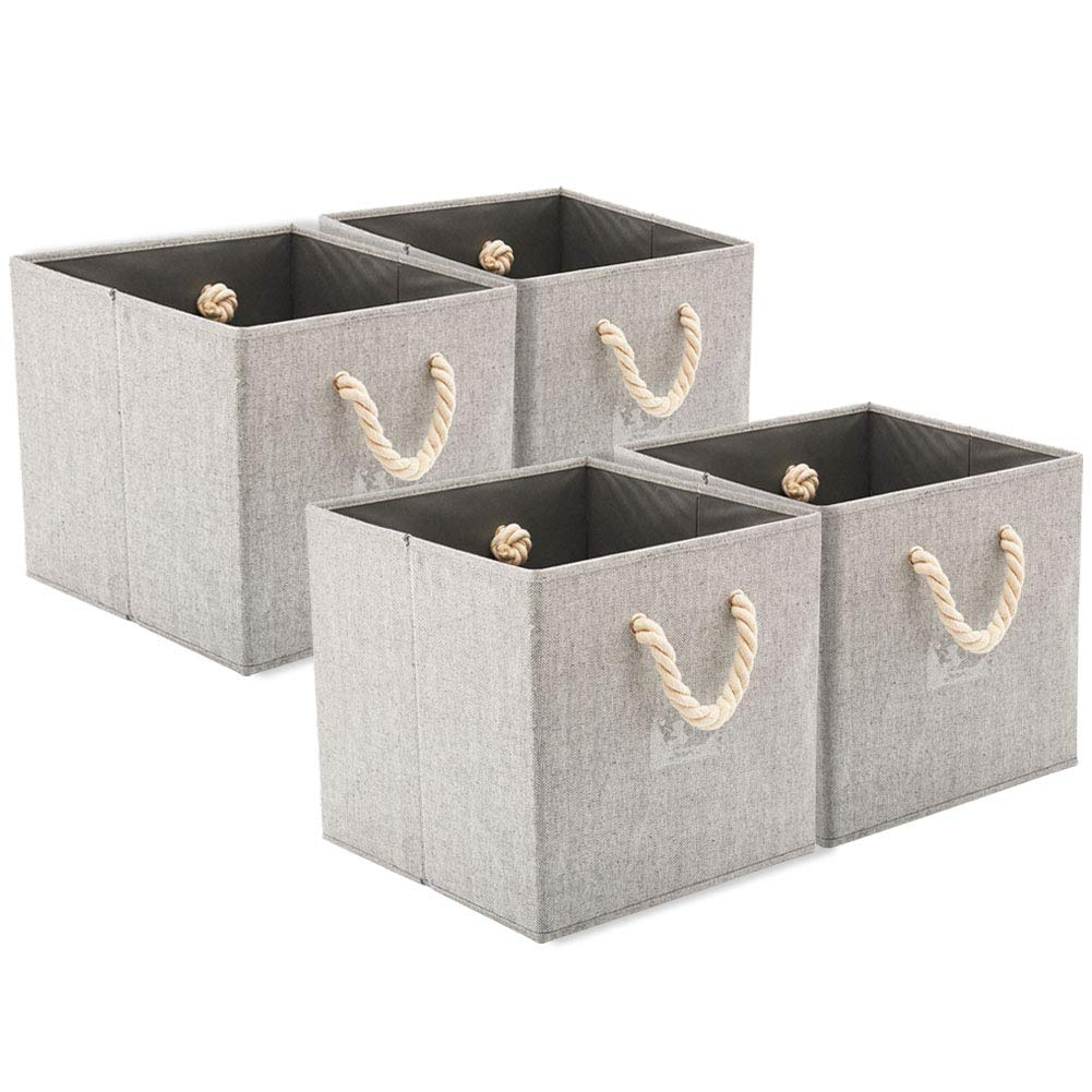 EZOWare [Set of 4] Foldable Fabric Storage Cube Bins with Cotton Rope Handle, Collapsible Resistant Basket Box Organizer for Shelves Closet Toys and More – Gray 12x12x12 inch