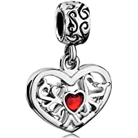 Mother's Day Gift Family Tree Of Life Charm Red Crystal Dangle Heart Beads Fit Pandora Bracelets