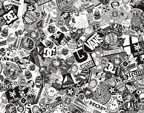 Sticker Bomb Comic Folie mit Echtem Logos 152x80cm Schwarz Weiß ...