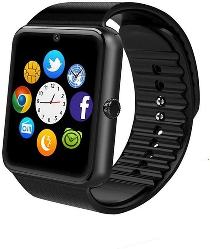 beaulyn GT08 Bluetooth Smart Watch for Android Phones,Smart Watch with SIM Card Slot,Call,Massage,for iOS iPhone and Android Phones Samsung ZTE Sony LG Smartphones, Sweatproof (Black)