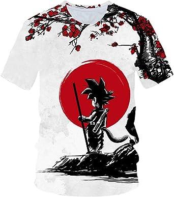 Camisetas Dragon Ball Z Super Son Goku Vegeta3D Estampado Unisex Moda Cuello Redondo Camiseta Blanca 4XL: Amazon.es: Ropa y accesorios