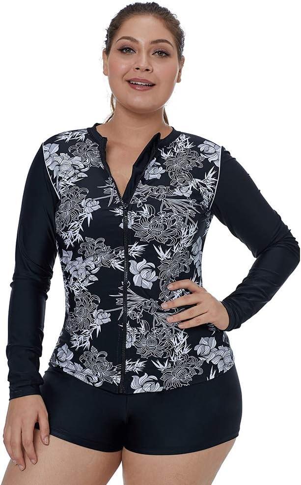 One pice Women Long Sleeve Zip Rash Vest Swimsuit Swim Shirt Slimming Bathing Suits swimwear Color : Black, Size : M