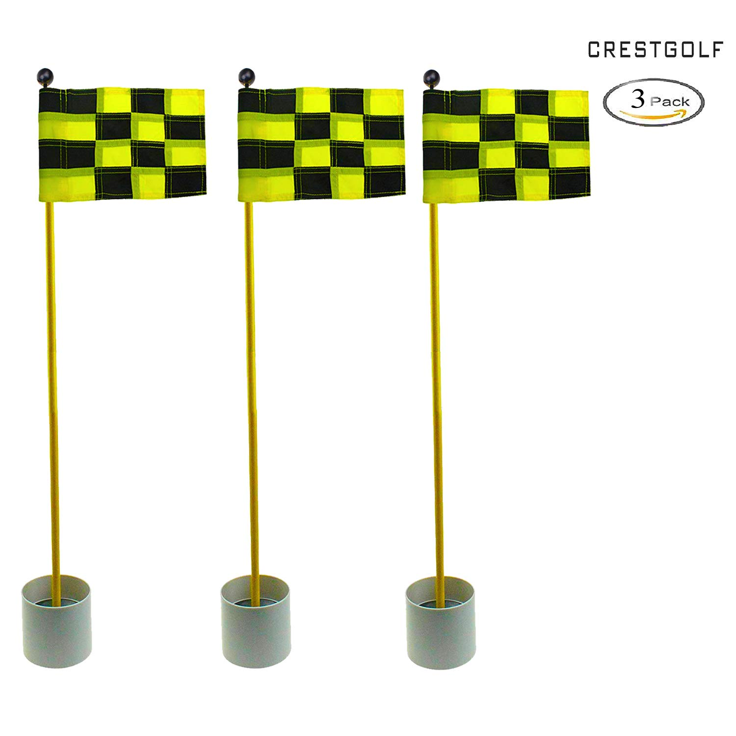 CRESTGOLF 3Sets Backyard Practice Golf Hole Pole Cup Flag Stick, 3 Section,Golf Putting Green Flagstick (black-yellow plaid)