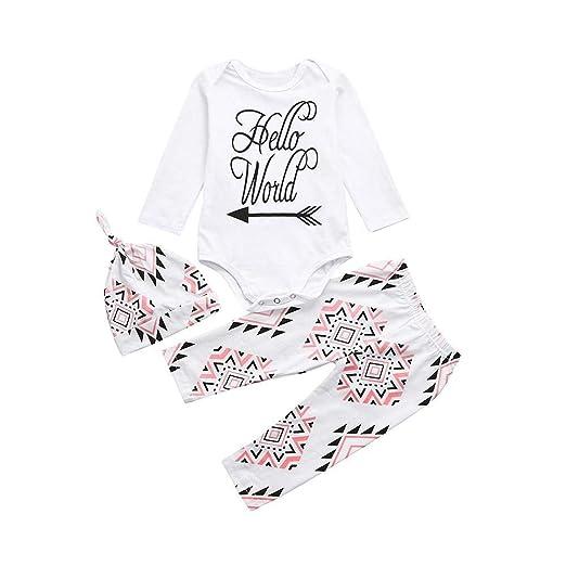 13334edb6f7 Amazon.com  Newborn Sets 3PCS Toddler Baby Boys Girls Letter Hello World  Print Romper Geometry Pants Hats Outfits(9-12M)  Clothing