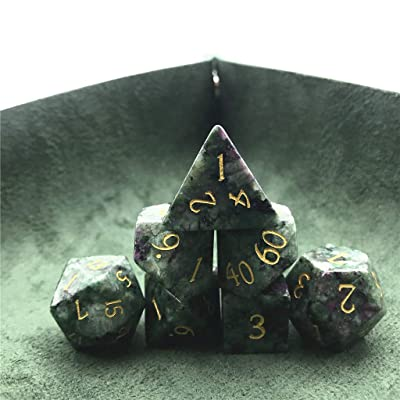 Amatolo Stone Dice Set of 7 Handmade Gemstones Dices for DND RPGs ,Dungeons & Dragons Game Collection. (4-A13 Ruby in Zoisite): Toys & Games
