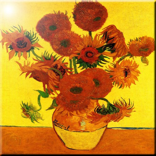 (Rikki Knight Van Gogh Art Still Life with Fifteen Sunflowers Design Ceramic Art Tile, 8