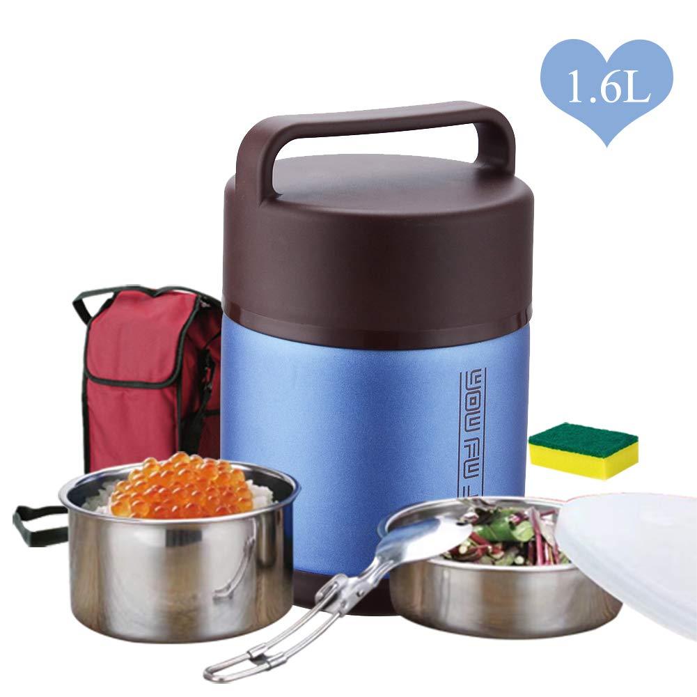 WXLJJYPD Termos Alimentos Calientes Termos Acero Inoxidable Frasco De Alimentos con Una Cuchara Plegable Aislamiento Al Vac/ío Contenedor,Blue,1.6L