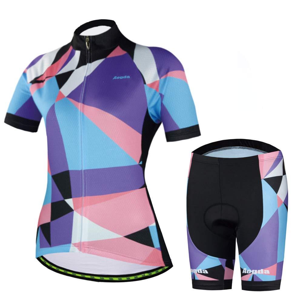 Women Cycling Jerseys Short Sleeve Suit Bike Biking Shirts Clothing (2 Suit, XXL) by Cycling Jersey Women