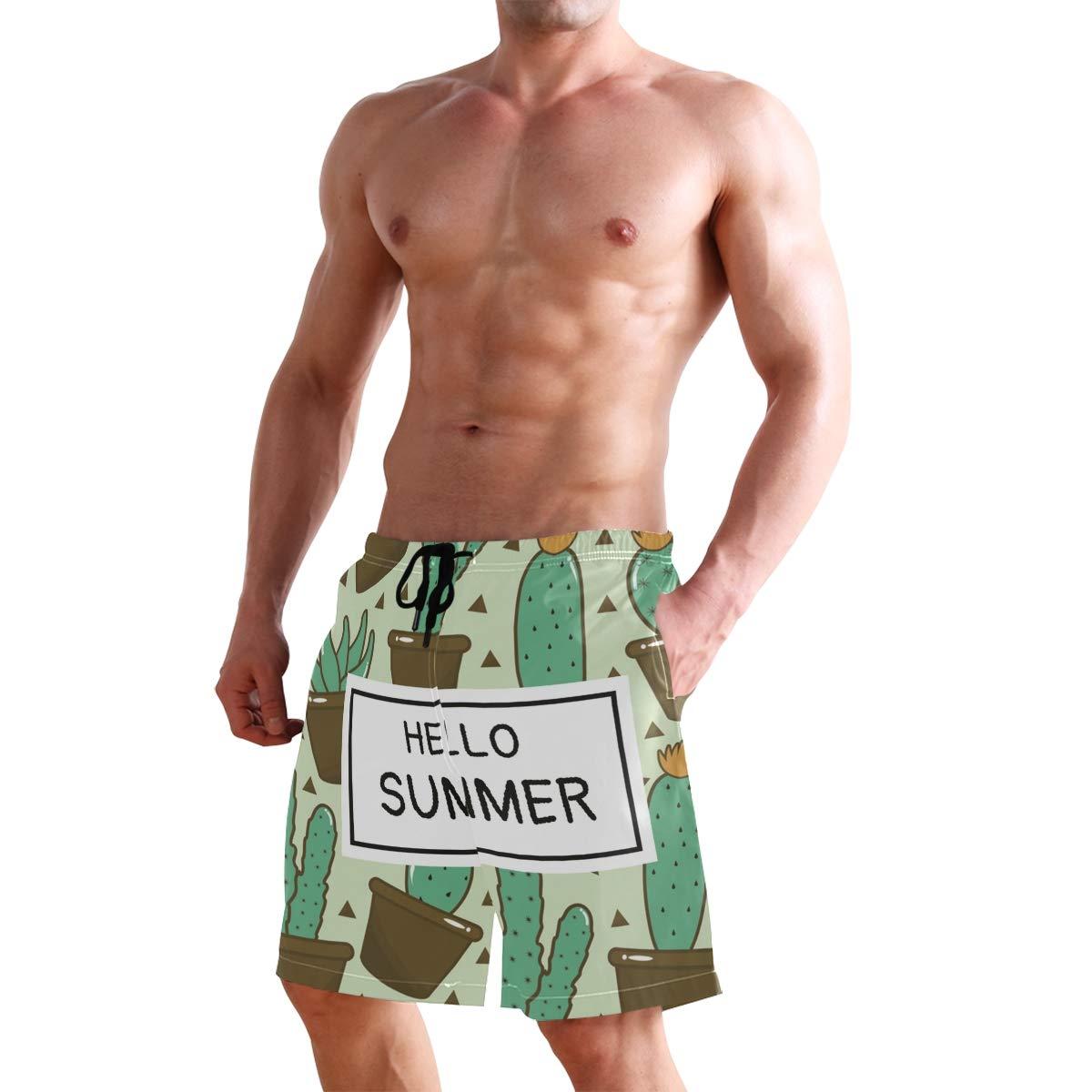 hodmadod Mens Swim Trunks Summer Quick Dry Board Shorts Hello Summer Cactus 3D Board Shorts with Pockets