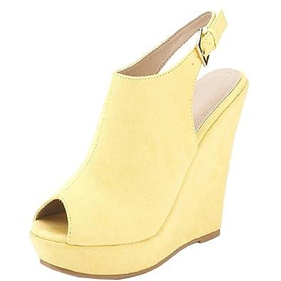 Damen Y-213 High Heels Plateau For Damen Dress Fashion Keilabsatz Sandalen Schnalle Gelb 35 EU MERUMOTE e09MnoS0yD