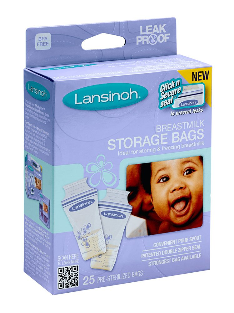 Lansinoh 20435 Breastmilk Storage Bags, 25-Count Boxes (Pack of 4)