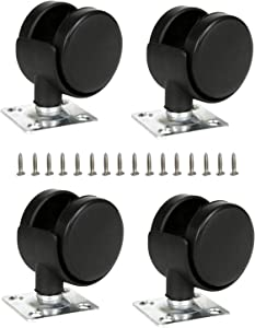 ShineIn Black Plastic 1.5 inch Plate Casters Furniture Wheels Replacement Set of 4 with 16 Screws