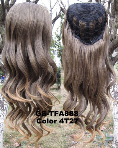 SIMUSTY 16colors 3/4 Half Wig,wig Stand Gift,Body Wave Wigs,Synthetic Hair Extensions 4T27