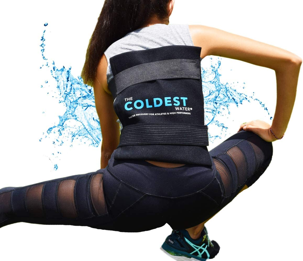 "The Coldest Ice Pack Large Flexible Gel Ice Pack and Wrap with Elastic Straps Specific for Cold Therapy - Ice Pack for Back Leg Sprains, Muscle Pain, Flexi Bruises, Injuries - 11"" x 14"" (Black)"