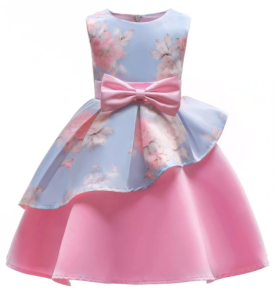 AYOMIS Litter Big Girl Dress Princess Gowns Bow Party Wedding Dresses(Flower-Pink,5-6Y)