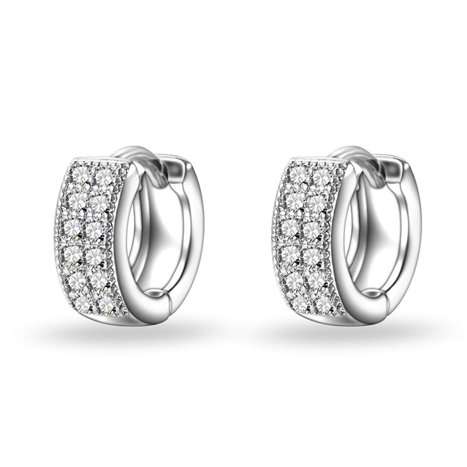 Zcaosma 925 Sterling Sliver Exquisite Women//Girls Stud Earrings Silver Fashion Jewelry Shiny White Crystal