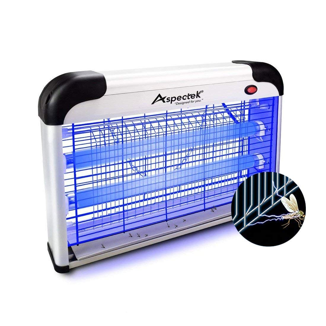 Aspectek Upgraded 20W Electronic Bug Zapper, Insect Killer - Mosquito, Fly, Moth, Wasp, Beetle & Other pests Killer Indoor Residential & Commercial (20W Home Bug Zapper)